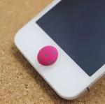 ปุ่มโฮมไอโฟน กระดุมสีชมพูเข้มจุดเขียว