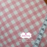 ผ้าคอตตอนลินิน 1/4ม.(50x55ซม.) ลายตารางสีชมพู