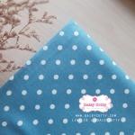 ผ้าคอตตอนลินิน 1/4ม.(50x55ซม.) พื้นสีฟ้าเข้ม ลายจุดสีขาว