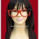 แว่นตาคิตตี้ กรอบสีแดง โบว์ดำ ไร้เลนส์ Fancy Cosplay Glasses