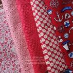Set 5 ชิ้น : ผ้าคอตตอนไทย 4ลาย + ผ้าคอตตอนลินินลายสมอเรือ โทนสีแดง