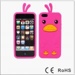 เคสไอโฟน 5/5s/SE (ซิลิโคน) เป็ดน้อยน่ารัก สีชมพูเข้ม