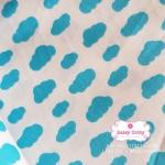 ผ้าคอตตอนไทย 100% 1/4 ม.(50x55ซม.) ลายก้อนเมฆ พื้นสีฟ้า