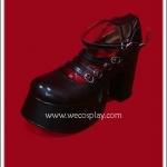 รองเท้าพังค์ สีดำผิวด้าน Six Straps Punk Shoes