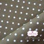 ผ้าคอตตอนลินิน 1/4ม.(50x55ซม.) สีเขียวขี้ม้า ลายจุดสีขาว