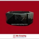 สร้อยข้อมือพังค์ Punk Wristband ตอกหมุด 1 แถว สีดำ เส้นใหญ่