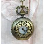 สร้อยคอโกธิคโลลิต้า จี้ล็อกเก็ตนาฬิกา ขนาดเล็ก สีทองโบราณ ฝาฉลุลายกรงนก นกและดอกไม้