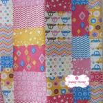 ผ้าคอตตอนลินินญี่ปุ่น 100% 1/4 ม.(50x55ซม.) ลายต่อผ้า โทนสีชมพู