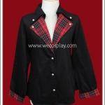 เสื้อสูทพังค์ สีดำ ปกเสื้อลายสก๊อตสีแดง Black Punk Suit with Red Gingham Collar