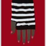 ถุงมือพังค์ ลายขวาง สีขาวดำ Punk Black and White Stripe Gloves