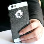 เคสไอโฟน 6 Plus / 6s Plus (Hard Case ) กรอบกากเพชรสีดำประดับเพชรวงกลมแอปเปิ้ล