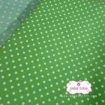 ผ้าคอตตอน 100% 1/4 ม.(50x55ซม.) พื้นสีเขียว ลายจุดสีขาว