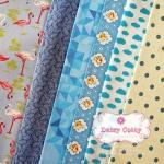 Set 6 ชิ้น : ผ้าคอตตอน 100% โทนสีฟ้า 5 ลาย และผ้าแคนวาส ลายจุด ชิ้นละ1/8 ม.(50x27.5ซม.)