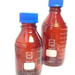 ขวดดูแรน สีชา laboratory bottle amber