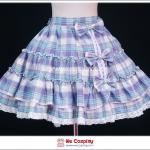 กระโปรงโลลิต้า ลายสก๊อต สีม่วงฟ้า Purple-Blue Plaid Lolita Skirt