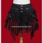 กระโปรงพังค์สีดำแดง Punk Skirt จับระบายทั้งตัว มีกระเป๋าแยกชิ้น