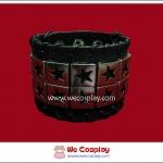 สร้อยข้อมือพังค์ Punk Wristband ลายดาว 2 แถว สีเงิน