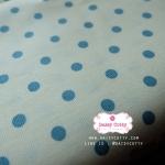 ผ้าคอตตอนลินิน 1/4ม.(50x55ซม.) พื้นสีขาว ลายจุดสีฟ้า