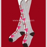 ถุงเท้าโลลิต้า ยาวเหนือเข่า สีครีม-น้ำตาล ลายโบว์ขาวแดงและชมพู
