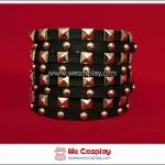 สร้อยข้อมือพังค์ Punk Wristband ตอกหมุดเหลี่ยมและกลม 8 เส้น