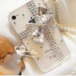 เคสไอโฟน 5/5s/SE (Case Iphone 5/5s/SE) เคสไอโฟนกรอบใส ประดับเพชรผูกโบว์คริสตัล