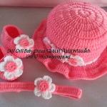 เซ็ทรองเท้า +หมวก +ผ้าคาดผม ดอกไม้สีชมพู ขนาด 3-6 เดือน