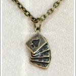 สร้อยคอโกธิค จี้ลายไพ่ สีทองโบราณ Gothic Necklace