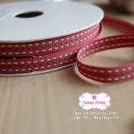 ริบบิ้นผ้าแถบ สีแดงกล่ำ กว้าง 1 ซ.ม. แบ่งขายเป็นหลา