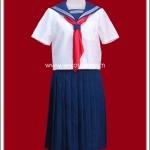ชุดนักเรียนญี่ปุ่นแขนสั้นปกสีน้ำเงิน ผ้าพันคอสีแดง กระโปรงยาว