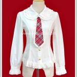 เสื้อ Blouse โลลิต้าสีขาว เนคไทสีแดง White Lolita Blouse with Red Necktie