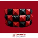 สร้อยข้อมือพังค์ Punk Wristband ตอกหมุด 3 แถว สีแดงดำ ตาหมากรุก