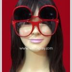 แว่นตากรอบพลาสติกสีแดง มีเลนส์ 2 ชั้น สามารถเปิดเลนส์ได้ Fancy Cosplay Glasses