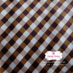 ผ้าคอตตอนไทย 100% 1/4ม.(50x55ซม.) ลายตารางโทนสีน้ำตาล