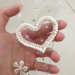 เคสไอโฟน 5/5s/SE (Case iphone 5/5s/SE) เคสไอโฟนกรอบใส ประดับหัวใจมุกและเพชรสองชั้น