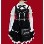 เซ็ตชุดโกธิคโลลิต้าสีขาวดำ พร้อมที่คาดผม กระเป๋า ถุงเท้า Angelic Pretty Gothic Lolita Set
