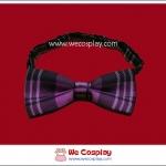 โบว์หูกระต่ายสำเร็จรูป ลายสก๊อต สีม่วงดำ สำหรับสวมคู่กับชุดสูททักซิโด้