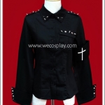 เสื้อเชิ้ตพังค์สีดำ ตอกหมุดหนาม Black Punk Shirt with White Cross Armband