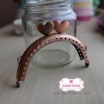 ปากกระเป๋า ปิ๊กแป๊กสีทองแดง รูปหัวใจ กว้าง 8 ซม. (3 นิ้ว)