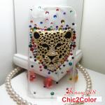 เคสไอโฟน 5/5s/SE (Case iphone 5/5s/SE) เคสไอโฟนกรอบใส ประดับเพชรหลากสี และเสือดาวสีทอง