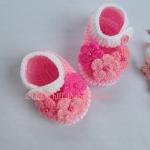 รองเท้าดอกไม้ชมพู 3-6 เดือน