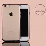 เคสไอโฟน 7(TPU CASE) เคสนิ่มกรอบใสขอบทองชมพู