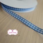 ริบบิ้นผ้า ลายสก๊อตสีฟ้า-ขาว กว้าง 0.5 ซม.