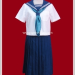 ชุดนักเรียนญี่ปุ่นแขนสั้นปกสีน้ำเงิน ผ้าพันคอสีฟ้า กระโปรงยาว