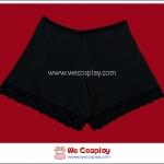 กางเกงซับใน ผ้าคอตต้อน สีดำ ขาขอบลูกไม้