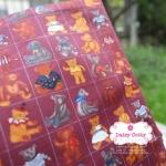 ผ้าคอตตอนไทย 100% 1/4ม.(50x55ซม.) ลายตุ๊กตาหมี พื้นสีม่วง