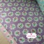 ผ้าคอตตอนไทย 100% 1/4 ม.(50x55ซม.) พื้นสี่ม่วง ลายดอกไม้เล็ก