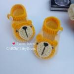 รองเท้าเด็กไหมพรม น้องหมีสีเหลือง ขนาด 1-3 เดือน