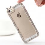 เคสไอโฟน 6/6s 6 ( Hard Case กรอบใส ) ประดับเพชรเรียบหรูมุมขอบ