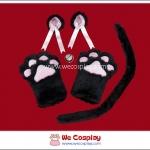 เซ็ตแมวเหมียวสีดำ-ถุงมือแมว หูแมว หางแมว กระพรวน