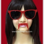 แว่นตาติดหนวด สีแดง เลนส์ดำ Fancy Cosplay Glasses